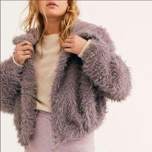 Free People Faux Fur Soft Zuri Teddy Parka Gray